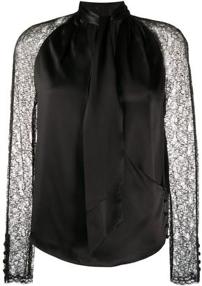 Jonathan Simkhai Lace-Sleeved Satin Blouse