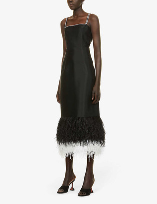 Huishan Zhang Astra feather-trimmed woven midi dress