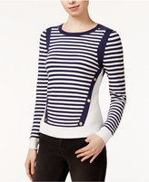 Maison Jules Striped Hardware-Detail Sweater, Only at Macy's