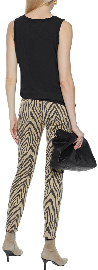 Thumbnail for your product : Current/Elliott The High Waist Ankle Tiger-print High-rise Skinny Jeans