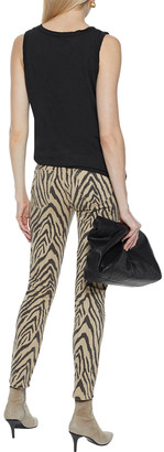Current/Elliott The High Waist Ankle Tiger-print High-rise Skinny Jeans