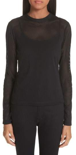 Yigal Azrouel Mesh Stripe Top