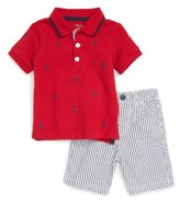 Little Me Infant Boy's Anchor Polo & Stripe Shorts Set