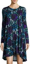 Joan Vass Floral-Print Long-Sleeve Swing Dress, Multi