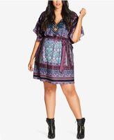 City Chic Plus Size V-Neck Printed Tunic Dress