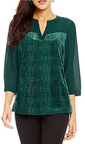 Investments 3/4 Sleeve Burnout Front Blouse