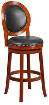 Flash Furniture Oval-Back Swivel Stool in Cherry Walnut/ Black