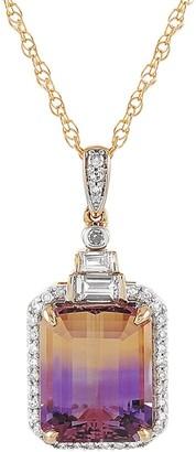 Non Branded 14K 3.25 Ct. Tw. Diamond & Amethyst Necklace