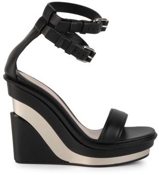 Alexander McQueen Platform Leather Wedge Sandals