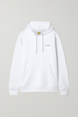 Yeah Right Nyc YEAH RIGHT NYC - Diva Embroidered Organic Cotton-blend Jersey Hoodie - White