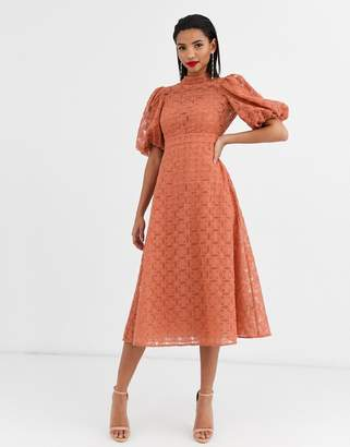 Asos Design DESIGN broderie organza midi skater dress with puff sleeves-Pink