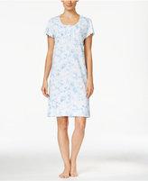 Miss Elaine Ruffle-Edged Printed Knit Nightgown