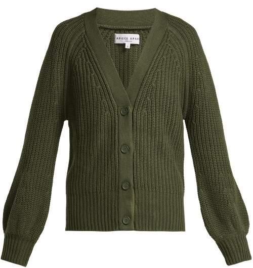 Apiece Apart Gerrit Cotton And Cashmere Blend V Neck Cardigan - Womens - Khaki