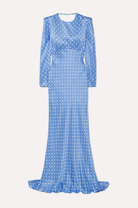 Alessandra Rich Open-back Polka-dot Silk-satin Gown - Light blue