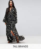 Y.a.s Tall Gold Foil Long Sleeve Maxi Dress