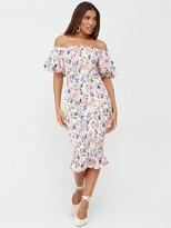 Very Shirred Body Midi Dress - Floral Print