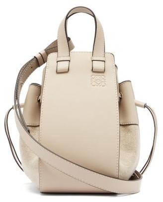 Loewe Hammock Small Linen-panel Leather Bag - Womens - Grey