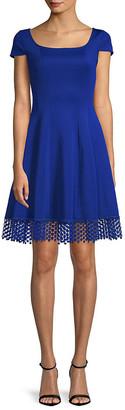 Donna Ricco Cap-Sleeve Scuba A-Line Dress