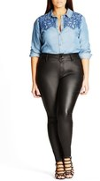 City Chic Skylar Coated Super Stretch Skinny Jeans (Plus Size)