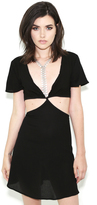 Elan Short Sleeve Dress With Cutouts In Black/Ivory