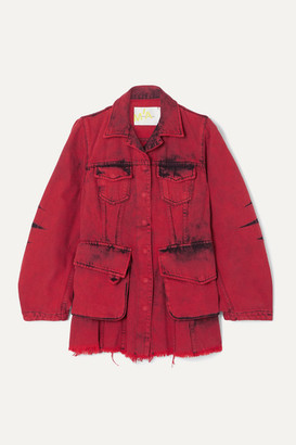 Marques Almeida Frayed Acid-wash Denim Jacket - Red