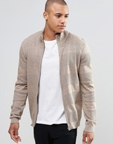Asos Zip Up Funnel Neck With Textured Stripes