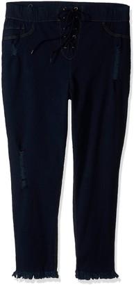 Hue Women's Plus Size High Waist Lace Up Denim Capri Leggings