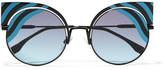 Fendi Cat-eye Metal Sunglasses - Blue
