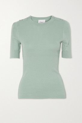3.1 Phillip Lim Button-embellished Ribbed Wool And Cotton-blend Top - Gray green