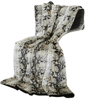 """Best Home Fashion Luxe Faux Fur Throw Blanket, Brown Snakeskin, 58""""x60"""""""