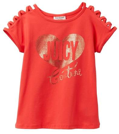 Juicy Couture Red Criss Cross Shoulder Studded Top (Big Girls)