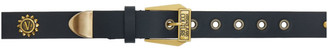 Versace Jeans Couture Black and Gold Floral Stud Belt