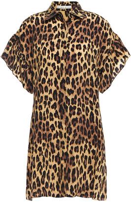 Alice + Olivia Jude Leopard-print Cupro Mini Shirt Dress