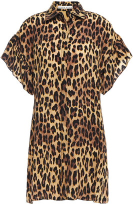 Alice + Olivia Leopard-print Woven Mini Shirt Dress