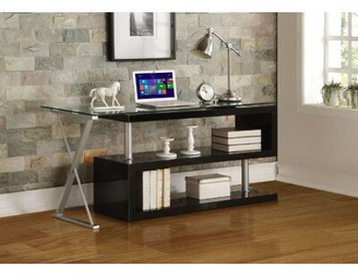 Orren Ellis Aadhyasri Glass L-Shape Desk