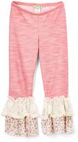Little Mass Plum Pink & Ivory Floral Ruffle Leggings - Toddler & Girls