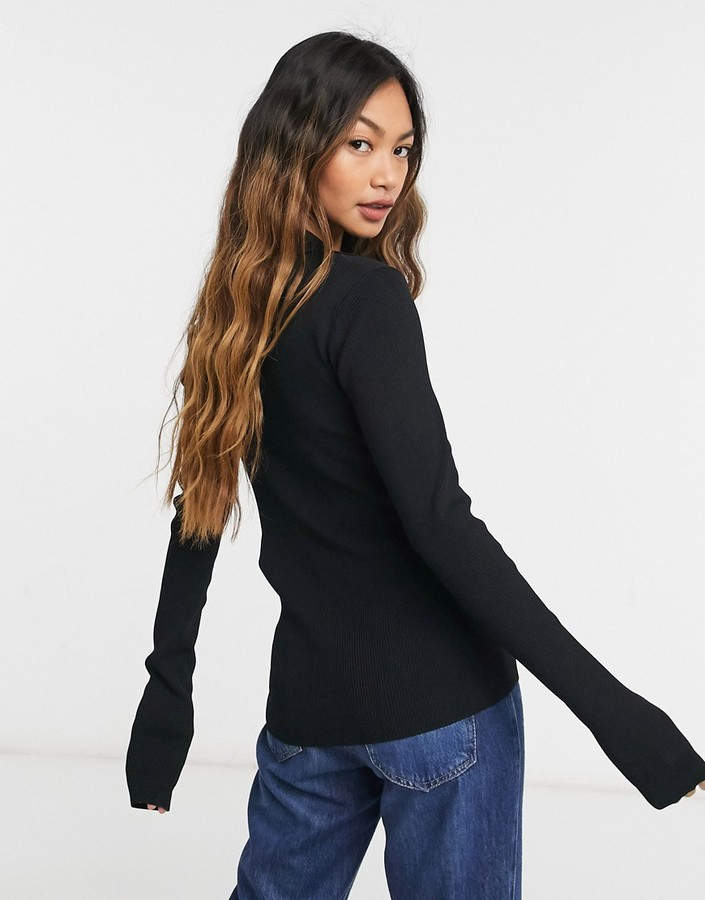 Thumbnail for your product : Weekday Flavia knitted polo top in black