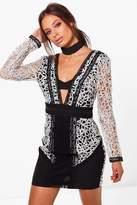 boohoo Boutique Hana Metalic Plunge Bodycon Dress