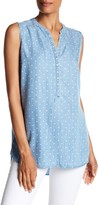 Foxcroft Sleeveless Hi-Lo Dot Shirt