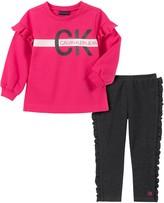 Calvin Klein Little Girl's 2-Piece Ruffle Fleece Top & Legging Set