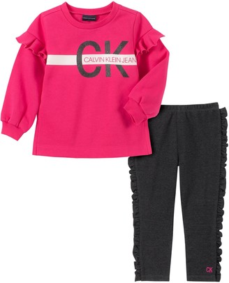 Calvin Klein Little Girl's 2-Piece Ruffle Fleece Top & Legging Set