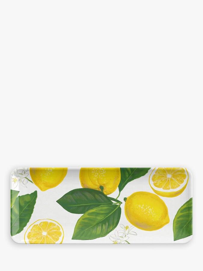 Epicurean Lemon Fresh Melamine Picnic Rectangular Platter, 45cm, Yellow/White
