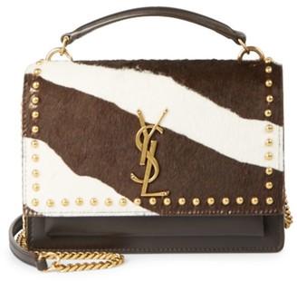 Saint Laurent Sunset Studded Zebra-Stripe Calf Hair & Leather Top Handle Bag