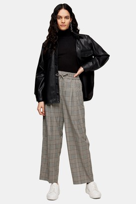 Topshop Womens Black And White Check Joggers - Monochrome