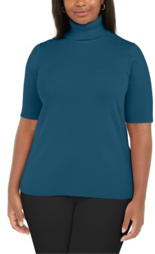 Anne Klein Plus Size Solid Elbow-Sleeve Turtleneck Sweater