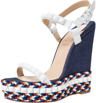Christian Louboutin White Leather Cataclou Denim Wedge Platform Ankle Strap Sandals Size 37