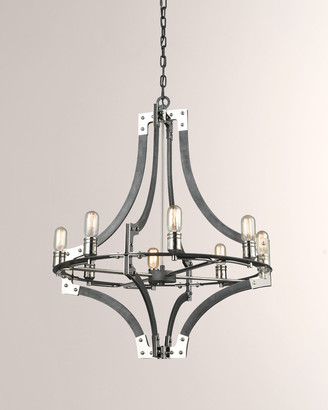 Riveted Plate 8-Light Chandelier in Silverdust Iron/Polished Nickel