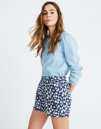 Madewell Drapey Pull-On Shorts in French Floral