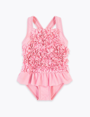 Marks and Spencer Floral Frill Swimsuit (2-7 Yrs)