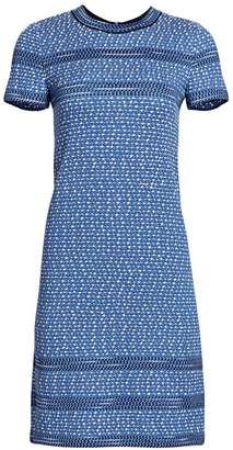 St. John Short Sleeve Tweed Shift Dress
